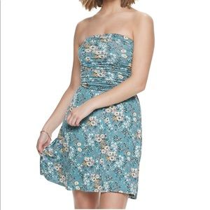 Blue Floral Fit and Flare Ruched Strapless Dress